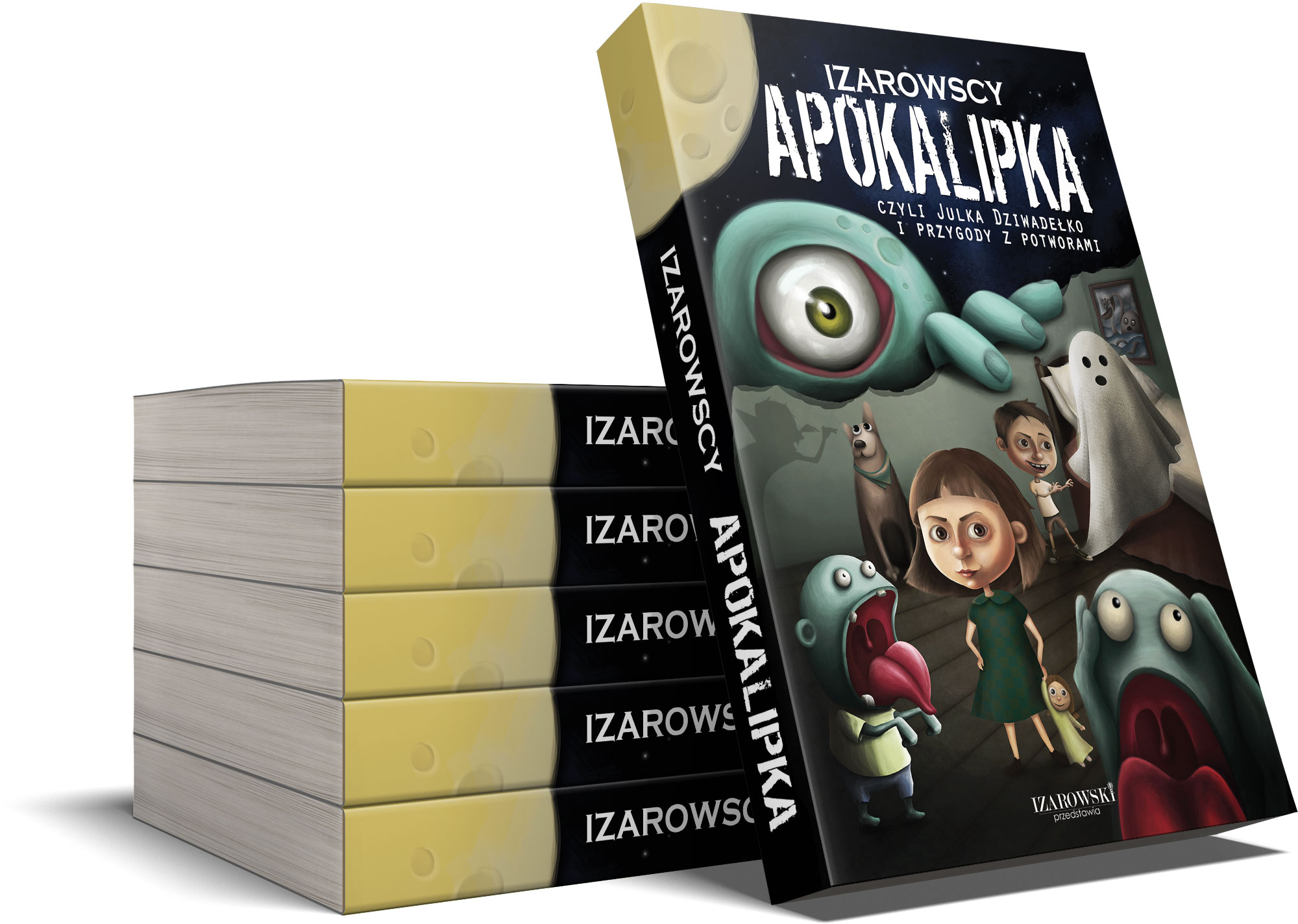 horror dla dzieci książka z dziewczynką na okładce, wokół zombiaki, wampir, klimat postapo